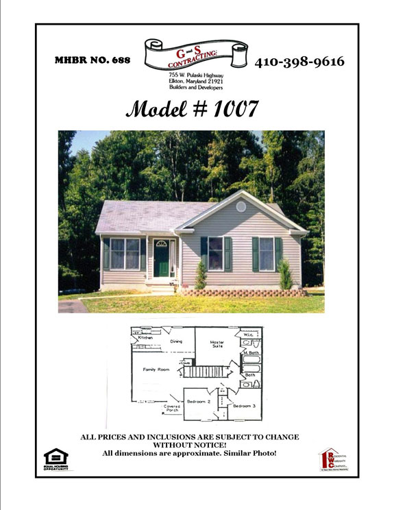 New Home Builder Cecil County MD - Rancher Home Model 1007